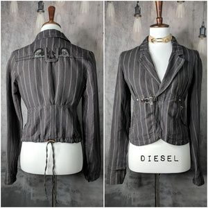 DIESEL Crop Stripe Linen Embroidered Blazer 😍